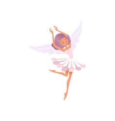 dancing fairy girl with purple hair wearing flower vector image vector image