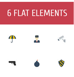 Flat icons policeman explosive parasol and other vector