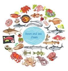 Sea and ocean food round concept vector