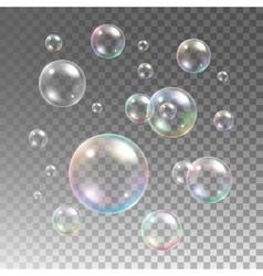 Transparent multicolored soap bubbles set vector image vector image