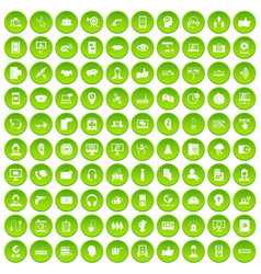 100 call center icons set green vector