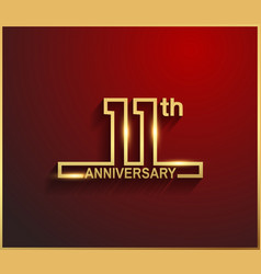 11 anniversary line style golden color vector