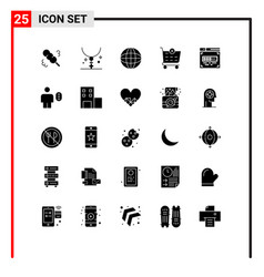 25 universal solid glyph signs symbols front vector