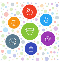 7 eat icons vector