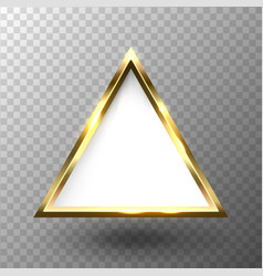 abstract shiny golden triangle frame with white vector image