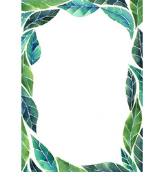 Abstract tropical green leaves border watercolor vector
