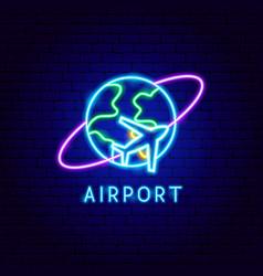 airport neon label vector image