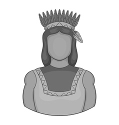 American indian icon black monochrome style vector