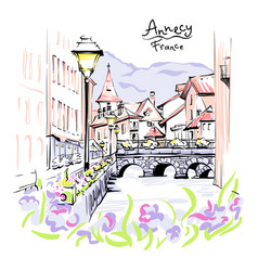 Annecy venice alps france vector