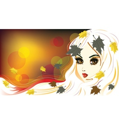 Autumn Girl with White Hair vector image