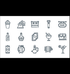 Bar line icons linear set quality line set such vector