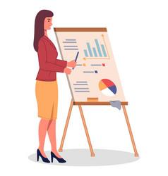 bar pie charts diagrams businesswoman presents vector image