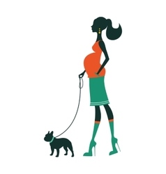 Beautiful woman silhouette with french bulldog vector image