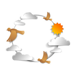birds flying in the sky among beautiful clouds vector image