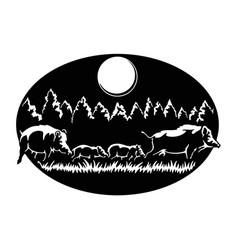 Boars family - wildlife wildlife stencils vector
