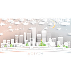 boston massachusetts usa city skyline in paper vector image