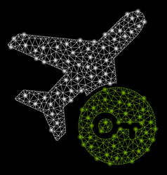bright mesh wire frame airplane key with light vector image