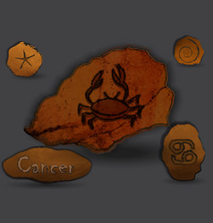 cancerzodiac in the form of cave painting vector image