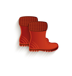 Cartoon brown rubber boots isolated vector