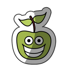 colorful green kawaii fruit apple happy icon vector image