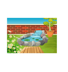 Cool back yard with river rock flower cartoon vector