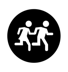 Couple running silhouette icon vector