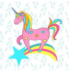 Cute card with a cartoon unicorn on a rainbow with vector