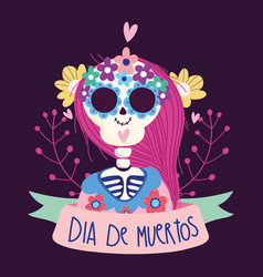 day dead woman skeleton catrina flowers vector image