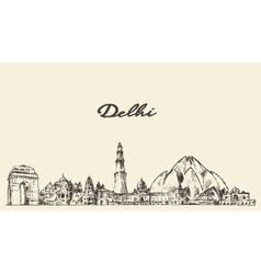 Delhi skyline hand drawn vector image