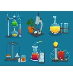 Design Icons Set Of Laboratory Equipment vector image