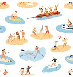 diverse people enjoying summer outdoor activity vector image