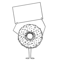 Donut or doughnut cartoon character holding empty vector