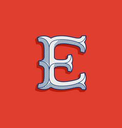 E letter logo in classic sport team style vector