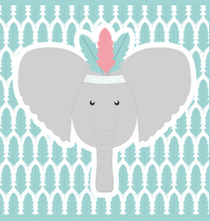 elephant with feathers hat and pattern vector image