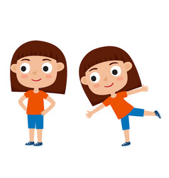 Girl in exercise pose vector