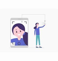 Girl taking selfie or having video call vector