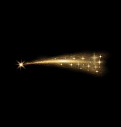 Glittering flying comet golden color vector