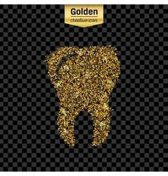 Gold glitter icon tooth isolated on vector