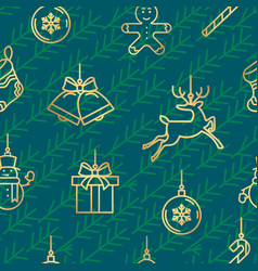 green and gold christmas seamless pattern with new vector image