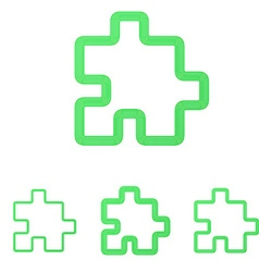 Green line puzzle logo design set vector