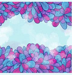 hand drawn seamless pink and blue invitation card vector image