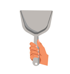 Hand holding dust scoop flat isolated icon vector