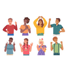 happy kids gesturing children boys and girls vector image