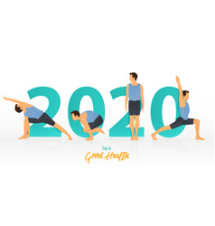 happy new year 2020 banner with yoga poses vector image