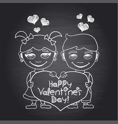 Happy valentines day chalkboard card with boy and vector