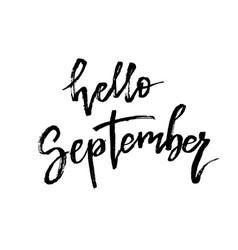 Hello september autumn brush lettering vector
