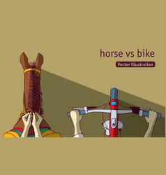 horse vs bike top view vector image