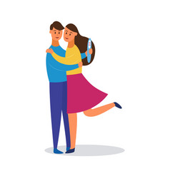 hugging couple man and woman in love flat vector image