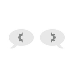 icon concept of two speech bubbles with gear parts vector image