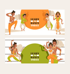 indian dancing school invitation banner vector image